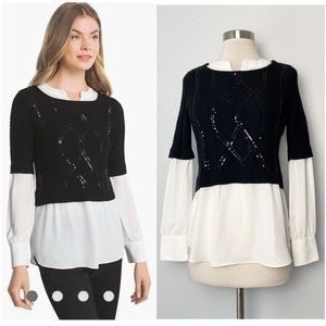 WHBM Two-in-One Shimmer Sequin Sweater Blouse: XS